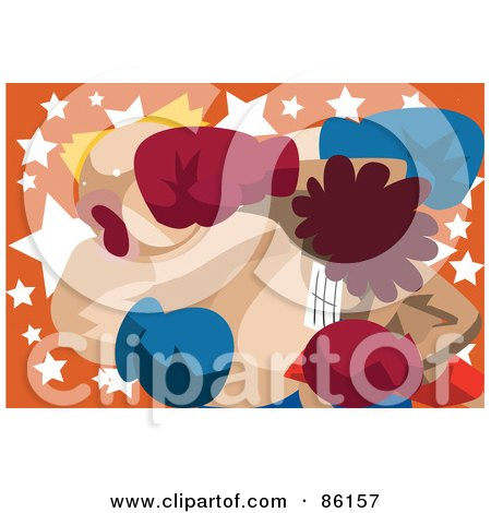 Royalty-Free (RF) Clipart Illustration of a Couple Of Boxers In A Cross Counter Knockout by mayawizard101