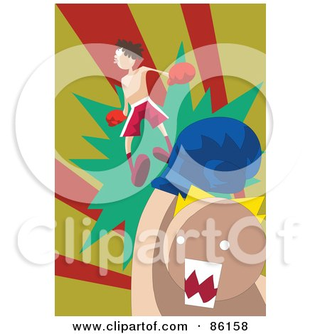 Royalty-Free (RF) Clipart Illustration of a Man Being Knocked Off His Feet During A Boxing Match by mayawizard101