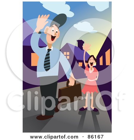 Royalty-Free (RF) Clipart Illustration of a Businessman Waving Goodbye To His Daughter As He Leaves For Work by mayawizard101