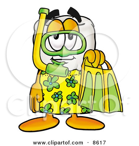 Clipart Picture of a Tooth Mascot Cartoon Character in Green and Yellow Snorkel Gear by Toons4Biz