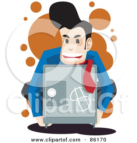 Royalty-Free (RF) Clipart Illustration of a Businessman Holding A Safe With A Dollar Symbol by mayawizard101