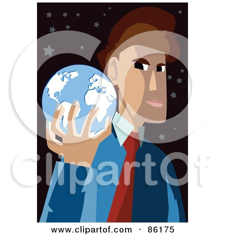 Royalty-Free (RF) Clipart Illustration of a Brunette Businessman Holding A Blue Globe In His Hand by mayawizard101