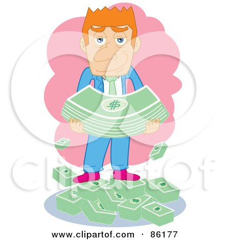 Royalty-Free (RF) Clipart Illustration of a Red Haired Businessman Standing On And Holding Cash by mayawizard101