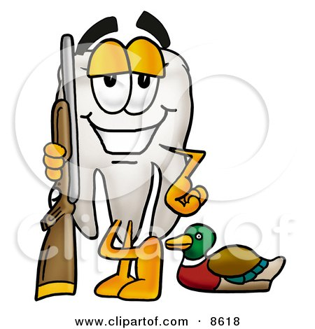 Clipart Picture of a Tooth Mascot Cartoon Character Duck Hunting, Standing With a Rifle and Duck by Toons4Biz