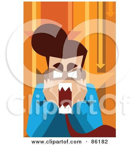 Royalty-Free (RF) Clipart Illustration of a Frustrated Business Man Screaming, Under Orange Arrows by mayawizard101