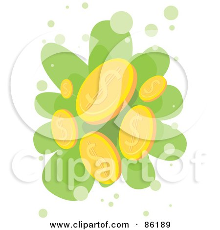 Royalty-Free (RF) Clipart Illustration of Golden Coins Falling by mayawizard101