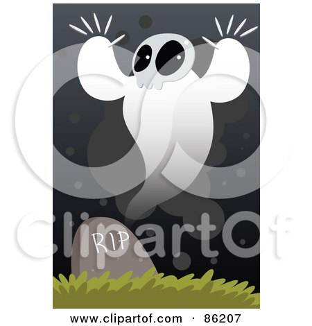Royalty-Free (RF) Clipart Illustration of a Spooky Ghost Over A Headstone by mayawizard101