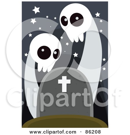 Royalty-Free (RF) Clipart Illustration of Two Spooky Ghosts Over A Headstone by mayawizard101