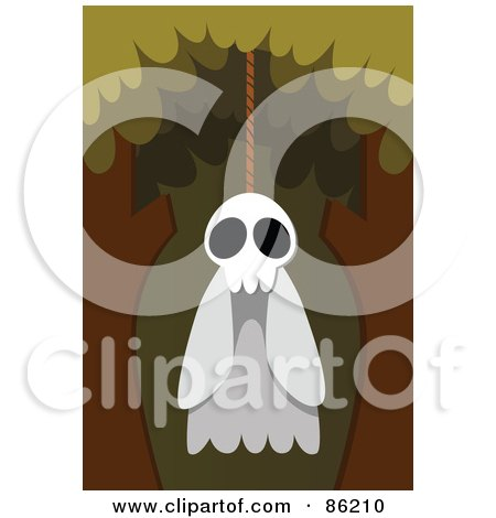 Royalty-Free (RF) Clipart Illustration of a Spooky Ghost Hanging From a Tree by mayawizard101