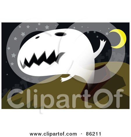 Royalty-Free (RF) Clipart Illustration of a Spooky Ghost Emerging From A Coffin by mayawizard101