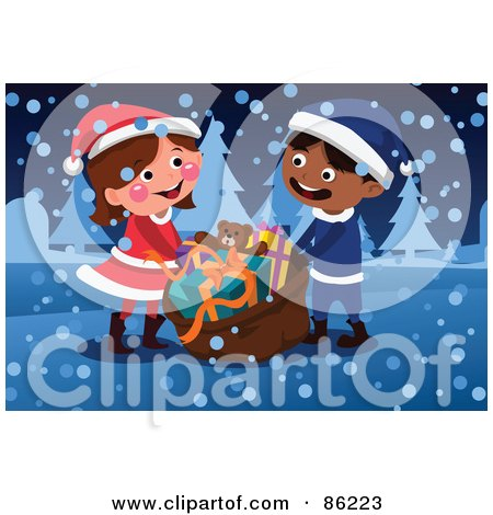 Royalty-Free (RF) Clipart Illustration of a Boy And Girl Carrying A Cristmas Toy Sack In The Snow by mayawizard101