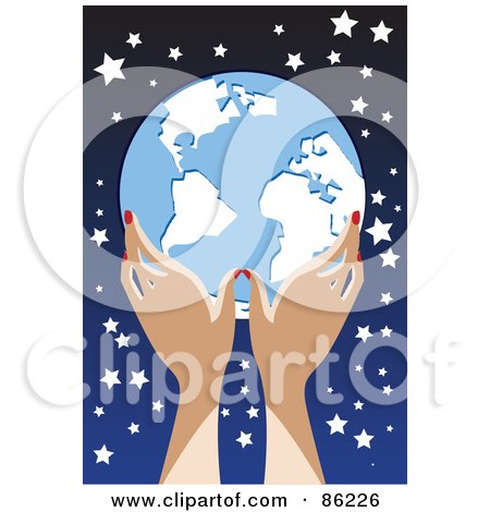 Royalty-Free (RF) Clipart Illustration of a Woman's Hands Holding A Globe Against A Starry Sky by mayawizard101