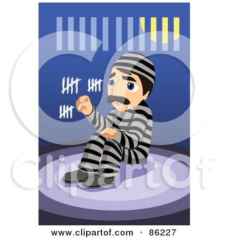Royalty-Free (RF) Clipart Illustration of a Bored Man In Prison, Counting The Days With Chalk In His Cell by mayawizard101