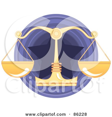 Royalty-Free (RF) Clipart Illustration of a Golden Scale Over A Purple Star Circle by mayawizard101
