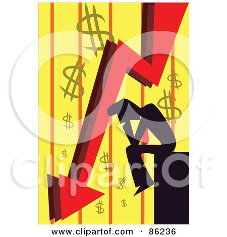 Silhouetted Businessman Pouting Over Bankruptcy Posters, Art Prints