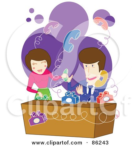 Royalty-Free (RF) Clipart Illustration of a Man And Woman Trying To Handle Bouncing Phones by mayawizard101