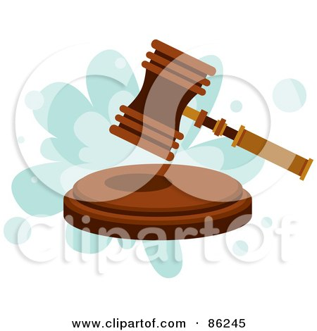 Royalty-Free (RF) Clipart Illustration of a Gavel Hammer Pounding A Block by mayawizard101