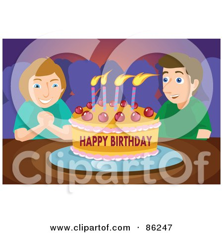 Royalty-Free (RF) Clipart Illustration of a Birthday Boy Making A Wish Before Blowing Out The Candles On His Birthday Party Cake by mayawizard101
