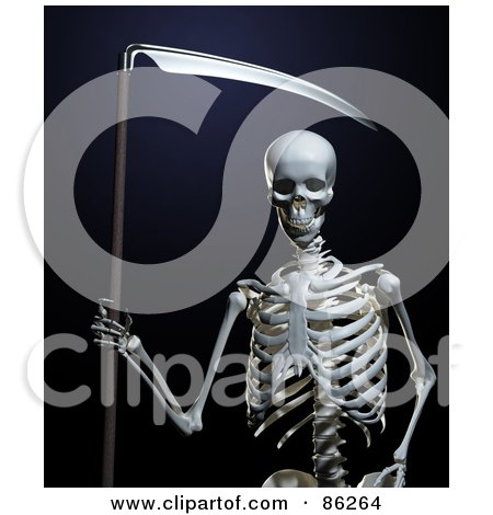 Royalty-Free (RF) Clipart Illustration of a 3d Human Skeleton With A Scythe by Mopic
