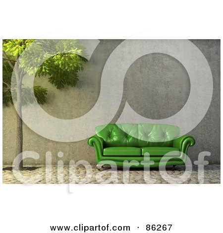 Royalty-Free (RF) Clipart Illustration of a 3d Green Leather Couch By A Tree by Mopic
