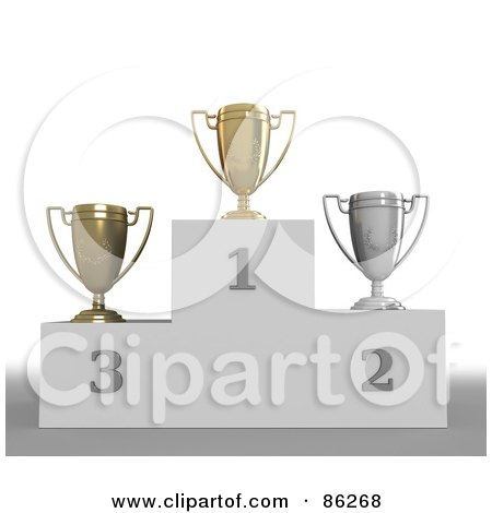 Royalty-Free (RF) Clipart Illustration of a Trio Of First, Second And Third Trophy Cups by Mopic