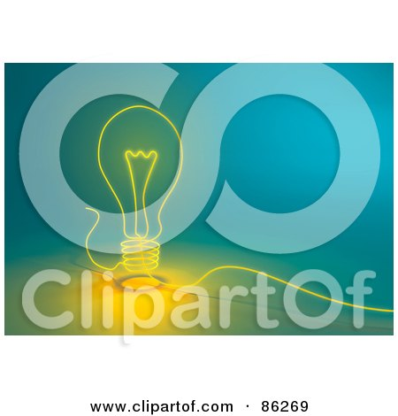 Royalty-Free (RF) Clipart Illustration of a Glowing String Lightbulb On Blue by Mopic