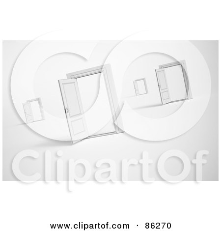Royalty-Free (RF) Clipart Illustration of Open Doorways And Frames On Shaded White by Mopic