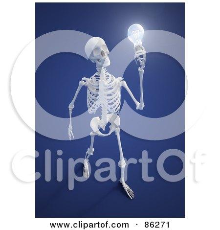 human skeleton holding a light bulb Posters, Art Prints