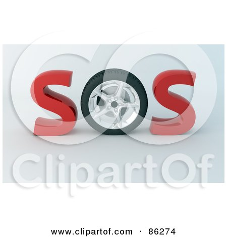 Royalty-Free (RF) Clipart Illustration of a 3d Sos With A Tire As The O by Mopic