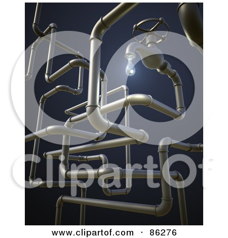 Royalty-Free (RF) Clipart Illustration of a 3d Dripping Faucet With A Complex Pipe System On Blue by Mopic