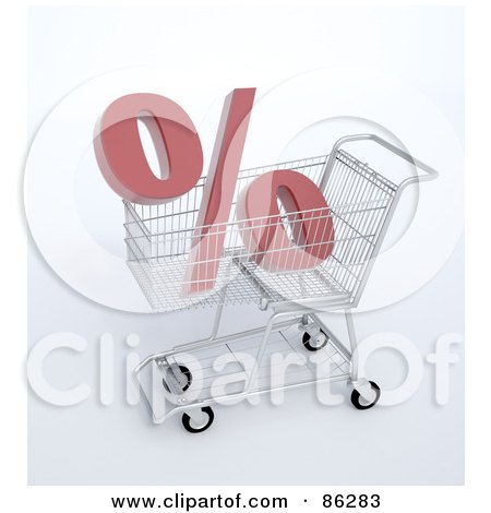 Royalty-Free (RF) Clipart Illustration of a Percent Symbol In A 3d Shopping Cart by Mopic