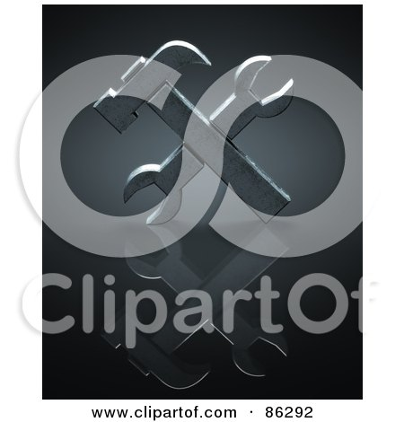 Royalty-Free (RF) Clipart Illustration of a 3d Hammer And Wrench Crossed Over Black by Mopic