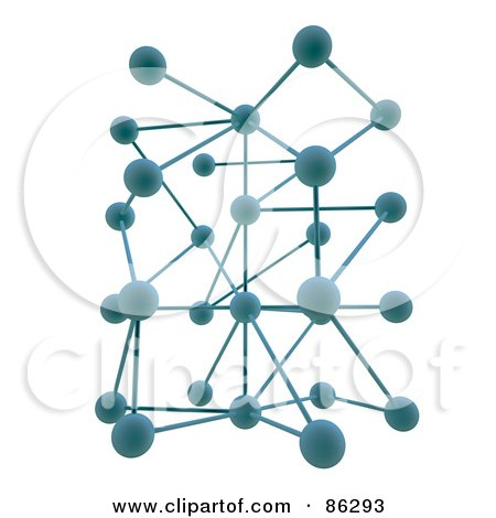Royalty-Free (RF) Clipart Illustration of a Complex Network Of 3d Blue Orbs by Mopic