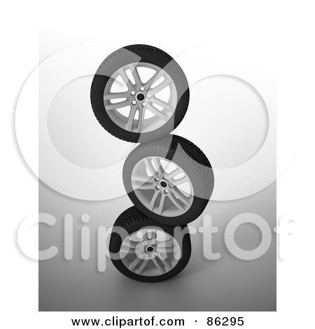 Royalty-Free (RF) Clipart Illustration of a Stack Of Three Rims And Tires by Mopic