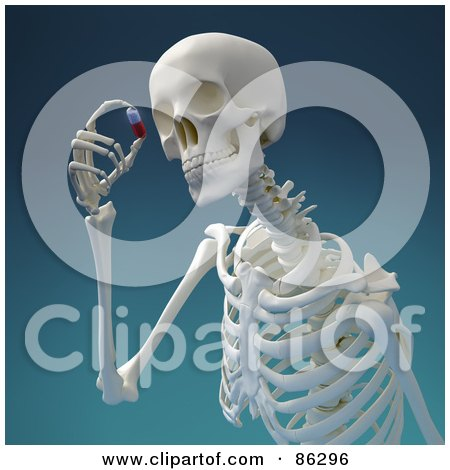 Royalty-Free (RF) Clipart Illustration of a 3d Human Skeleton Viewing A Pill by Mopic