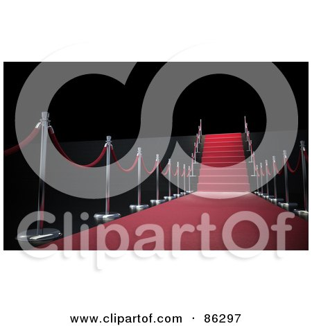 Royalty-Free (RF) Clipart Illustration of a Rope And Pole Lined Red Carpet And Stairs Over Black by Mopic
