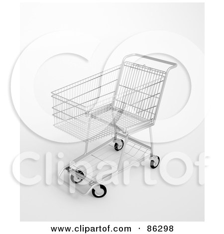 Royalty-Free (RF) Clipart Illustration of a 3d Silver Shopping Trolley by Mopic