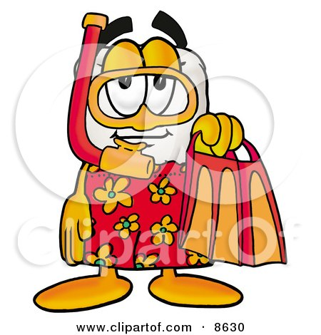 Clipart Picture of a Tooth Mascot Cartoon Character in Orange and Red Snorkel Gear by Toons4Biz