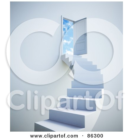 Royalty-Free (RF) Clipart Illustration of a White Staircase Leading To Clouds Beyond An Open Door by Mopic