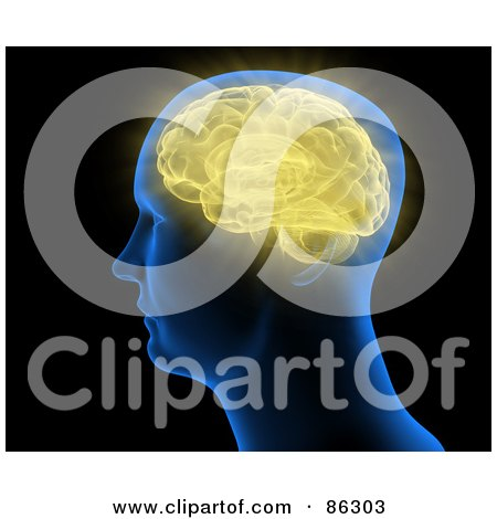 Royalty-Free (RF) Clipart Illustration of a Blue Head With A Yellow Brain by Mopic