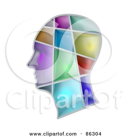 Royalty-Free (RF) Clipart Illustration of a Human Head With Colorful Sections by Mopic