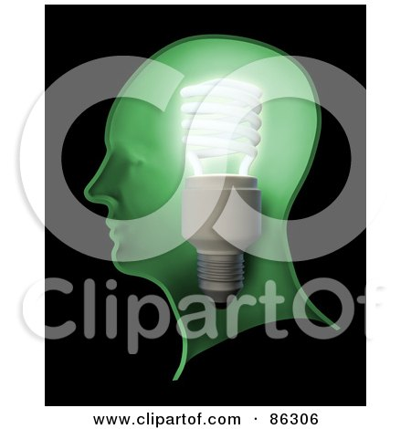 Royalty-Free (RF) Clipart Illustration of a Shining Lightbulb In A Green Human Head by Mopic