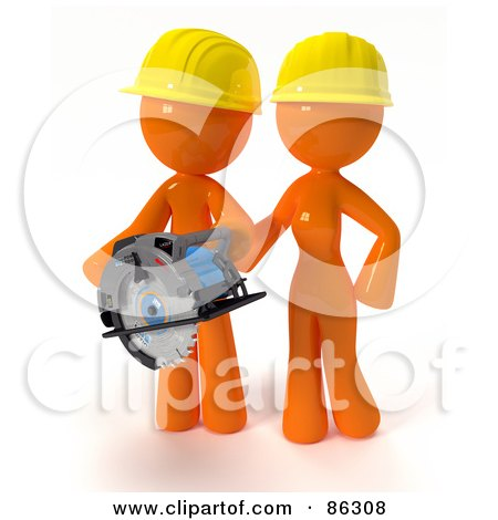 3d Orange Man And Woman Wearing Hardhats And Using A Saw During A Home Improvement Project Posters, Art Prints