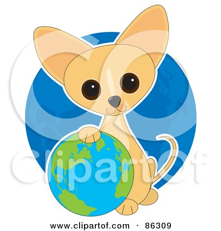 Royalty-Free (RF) Clipart Illustration of an Adorable Earth Day Chihuahua Puppy Resting His Paw On A Globe by Maria Bell