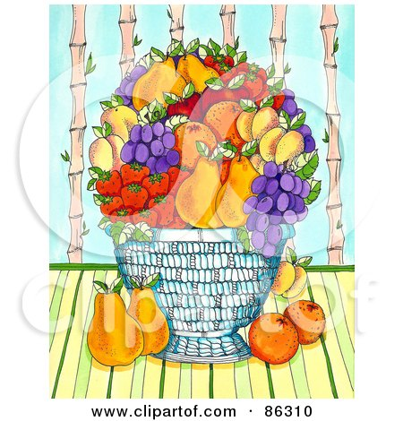 Royalty-Free (RF) Clipart Illustration of a Large Fruit Bowl With Pears, Oranges, Grapes, Apricots, And Strawberries by Maria Bell