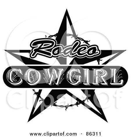Royalty Free RF Clipart Illustration Of A Black And White Vintage Styled Rodeo Cowgirl Star With Barbed Wire