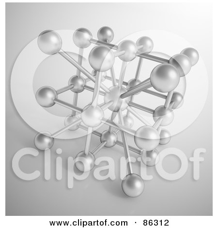 Royalty-Free (RF) Clipart Illustration of a Network Of Silver Dots On Gray by Mopic