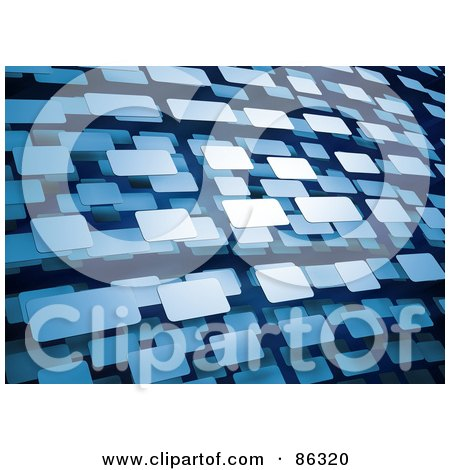 Royalty-Free (RF) Clipart Illustration of a Background Of Floating Blue 3d Rectangles by Mopic