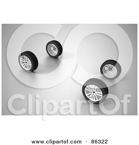 Royalty-Free (RF) Clipart Illustration of a set of four 3d car wheels on gray by Mopic
