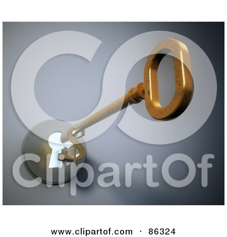 Royalty-Free (RF) Clipart Illustration of a 3d Golden Dollar Skeleton Key Entering A Key Hole by Mopic